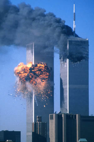The World Trade Center in New York on September 11, 2001