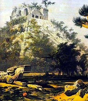 Rediscovering the Maya - Catherwood's lithograph of a pyramid in Copan.